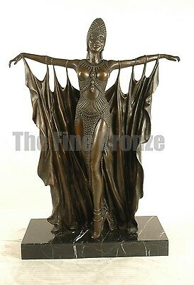 "Signed D.H.Chiparus, Bronze Statue Art Deco Dancer Bronze Sculpture ""Semiramis"""