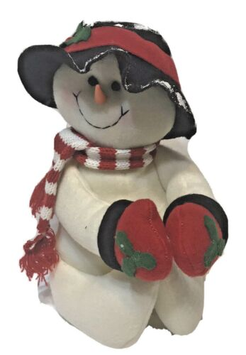 """Winter Snowman Red Scarf Hook and Loop Hands and Feet Carrot Nose 11"""" Christmas"""