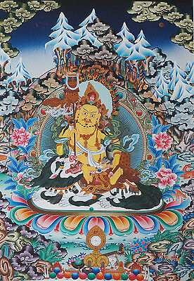 17  Natural Mineral Color Silkprint Tibetan Thangka  Vaishravana Deity On Wealth