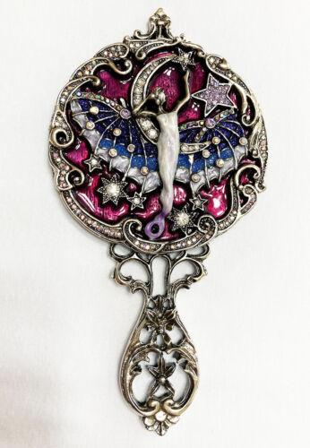 Kirks Folly Morgana Fairy Hand Mirror   silvertone / purple -  Vanity Mirror
