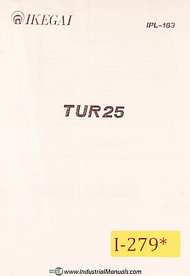 Ikegai Tu25 Nc Lathe Parts List And Assemblies Manual