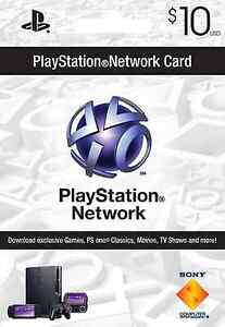 $10 US PLAYSTATION NETWORK CARD PSN for PS3 & PSP FAST