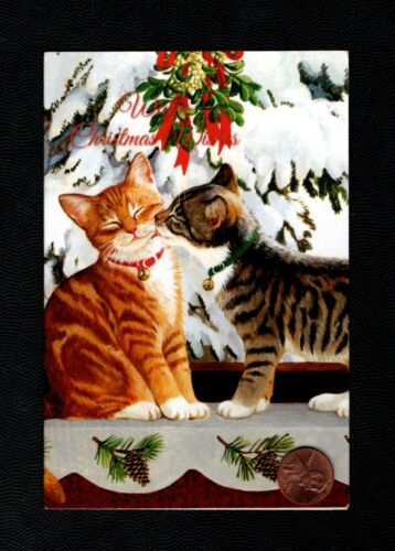 Christmas Kittens Cats Kissing Tree Snow  - SMALL Greeting Card - W/ TRACKING