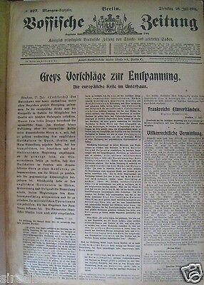 Vossische Zeitung 28. Juli - 27.  August 1914 1. Kriegsjahr RAR gebunden