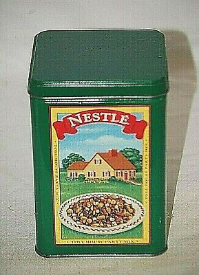 Old Vintage Advertising Nestle Toll House Cookies Metal Tin Can Green Container