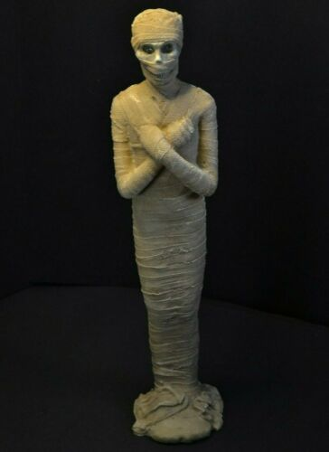 "MUMMY STATUE 16.5"" LED Color Changing Flashing Eyes & Realistic Wrap Halloween"