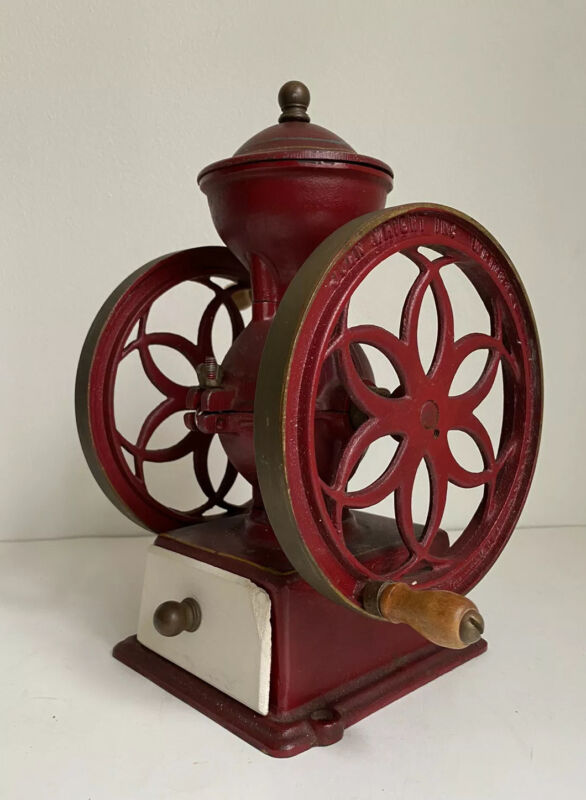 """ANTIQUE John Wright Cast Iron Double Wheel Coffee Mill Wrightsville PA 11.5"""""""