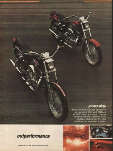 1972 Harley-Davidson Sportster 1000 XLCH & H - Vintage Motorcycle Ad