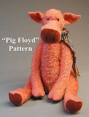 "Mohair ""Pig Floyd""  a Pig Pattern by Neysa A. Phillippi  Purely Neysa teddy bear"