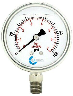 2-12 Pressure Gauge Stainless Steel Case Liquid Filled Lower Mnt 100 Psi
