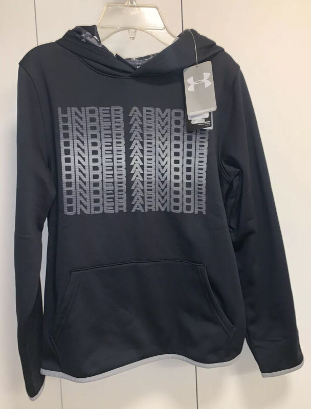 New Boys Under Armour YLG/G Coldgear PullOver Hoodie Black W/Grey Lettering