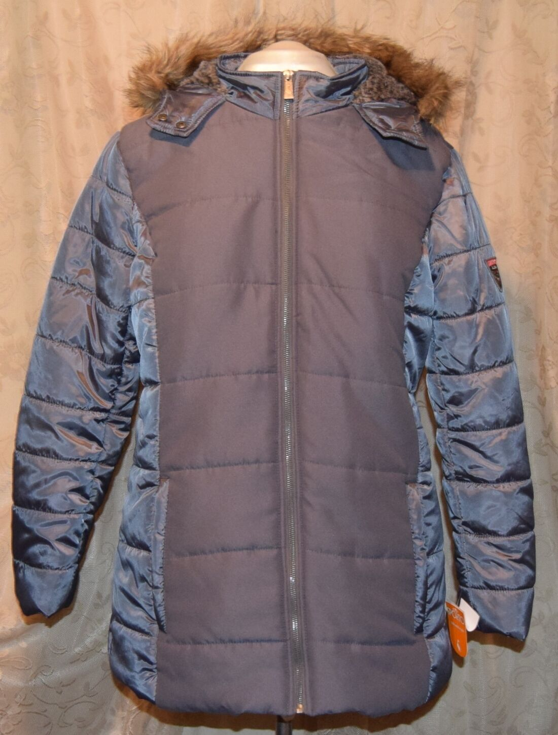 Details about HSN SPORTO WARM QUILT ZIP FRONT PUFFER COAT WPATCH