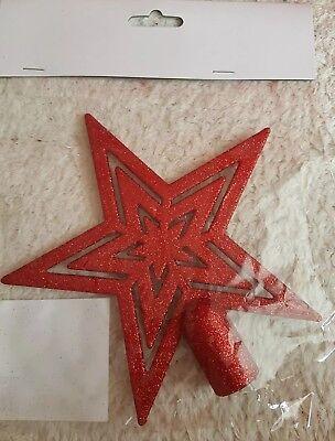 Weihnachtsbaumspitze Stern Kunststoff Rot
