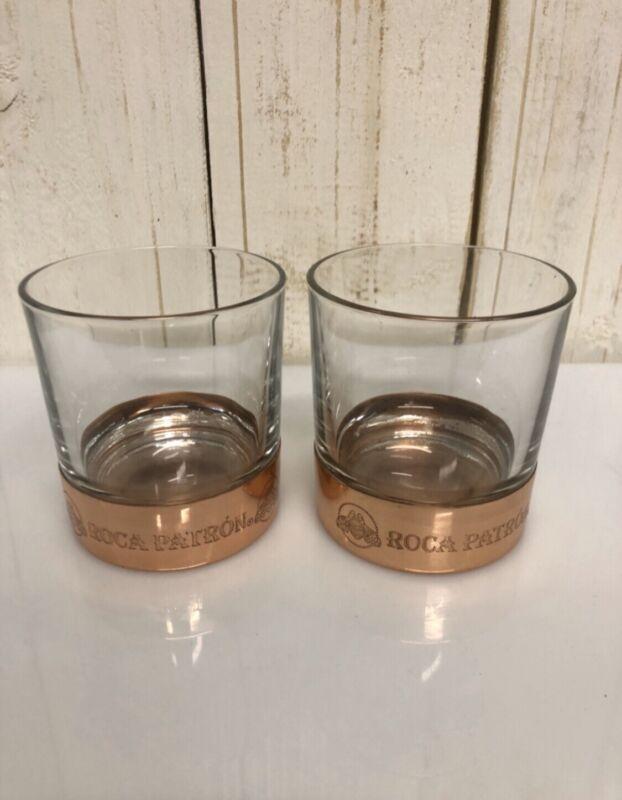 Patrón Tequila Copper Based Rocks Glasses, Drinkware, New, (Set Of 2)