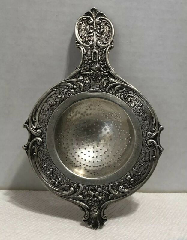 Ornate German 800 Silver Tea Strainer Floral Design With Hand Workmanship