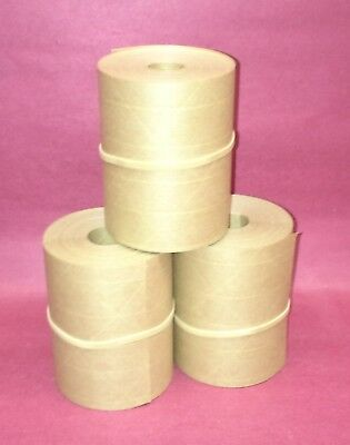 3-rolls 3.00 X 50 Gummed Reinforced Paper Tape. Kraft Shipping Packaging