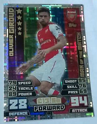 Match attax 2014 2015 Olivier Giroud Man of the Match card #362 Arsenal