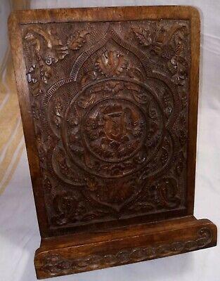 Bible/Book Stand Holder Handcrafted Vintage Carved Walnut