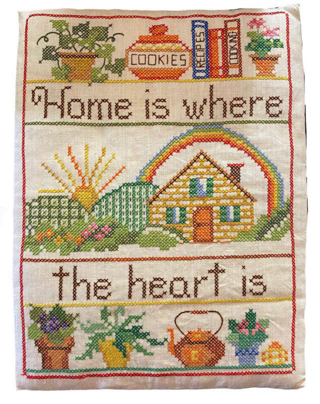 Vintage Handmade OOAK Cross Stitch Embroidery Picture Home Is Where The Heart Is