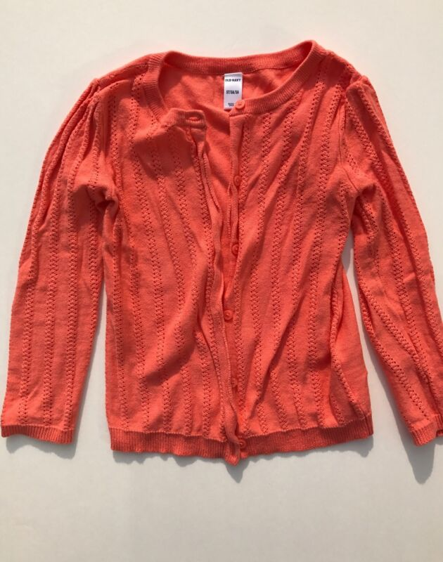EUC Old Navy Girls Coral Pointelle Cardigan Size 5T