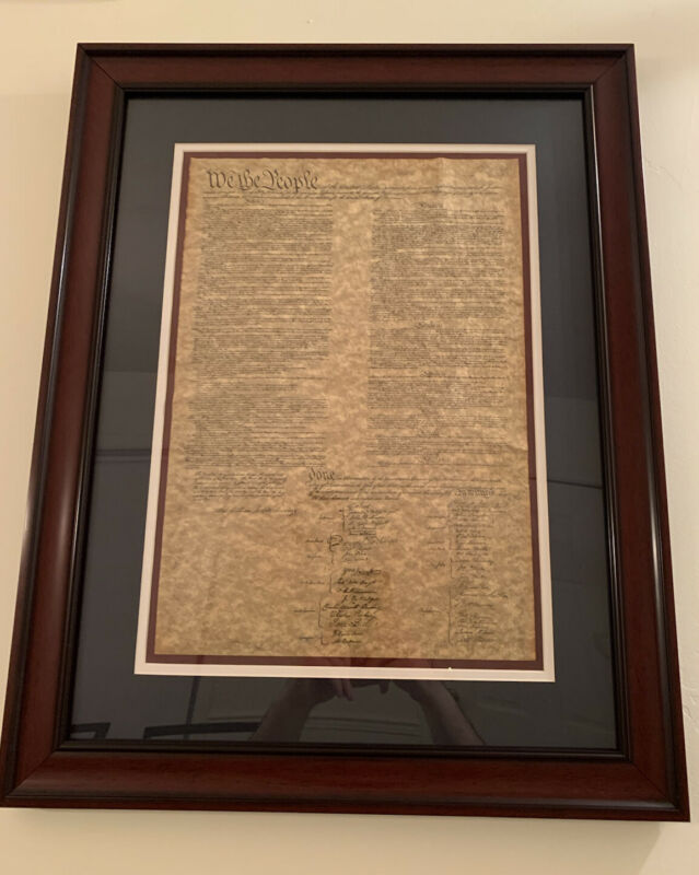 "Constitution of the United States (replica) in elegant frame 25.75"" x 20.5"" x 1"""