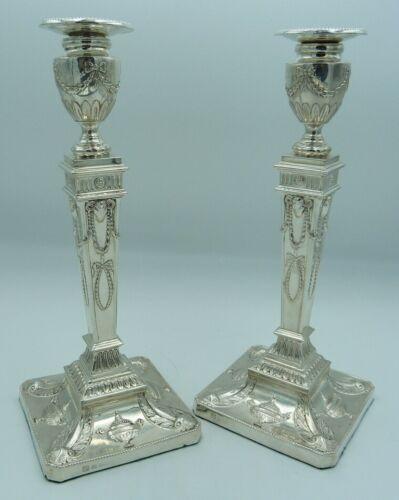 30cms Georgian NeoClassical Style Solid Silver Candlesticks - Adam Design