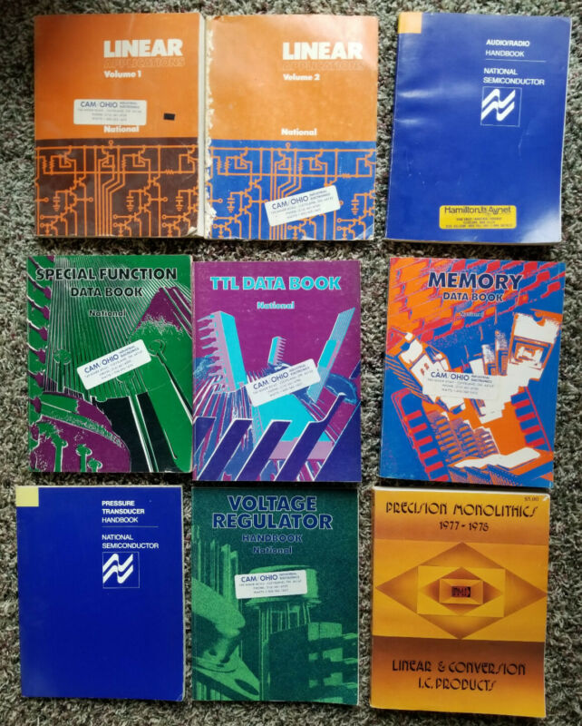 Vintage National Semiconductor & PMI Data books - 9 book set, linear, TTL, Mem