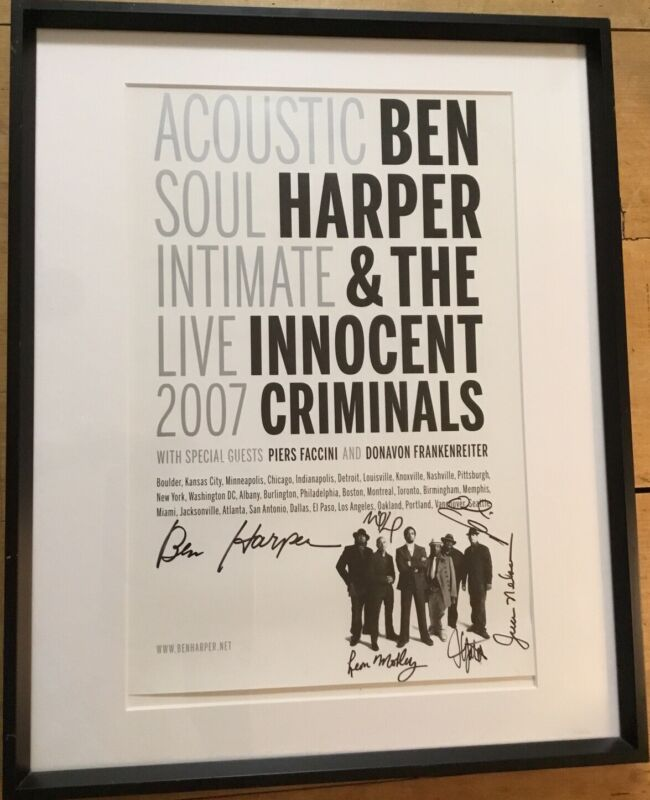 Ben Harper & The Innocent Criminals 2007 Autographed Lifeline Tour Poster Framed