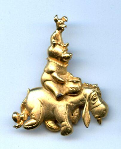 Disney Piglet Sitting on  Winnie the Pooh, sitting on Eeyore Goldtone Pin