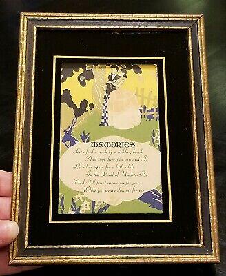 Vintage 1930《Art Pub. Co. Chi》Memories Poem Printed in U.S.A. Metallic Gold Acc.