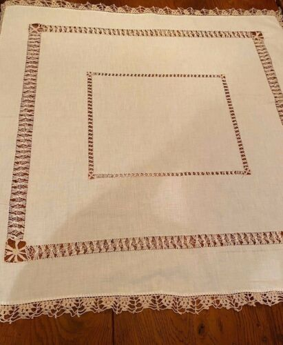 Antique drawn pulled thread lace white linen table topper beige crochet edging