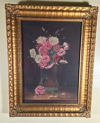 Antique American  Oil Painting O/C Still Life Carnation Flowers Signed R Carroll