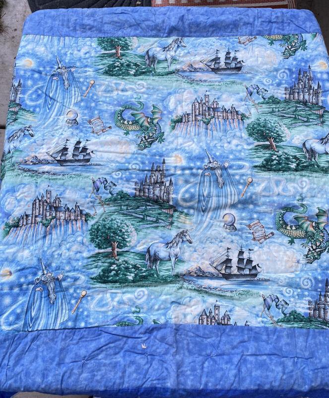 Vintage Baby Quilt Mystical Dragons, Wizard, Unicorn, Fantasy Blanket