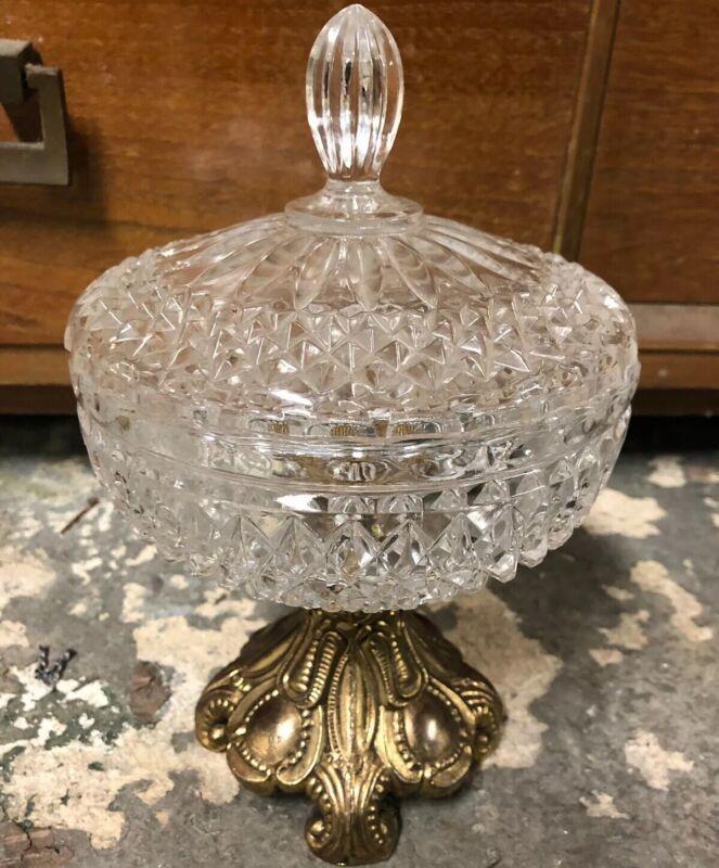 Vtg Pressed Glass Crystal Gold Metal Pedestal Covered Compote Hollywood Regency