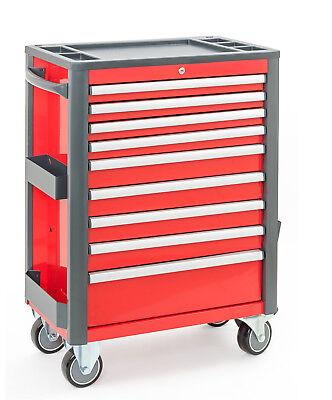 Werkzeugwagen mit 9 Schubladen - rot/schwarz - Profi Serie 98 - Werkstattwagen
