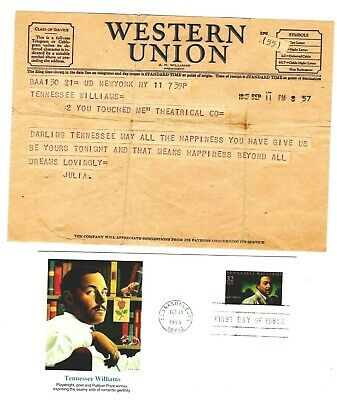 TENNESSEE WILLIAMS,TELEGRAM TO FROM JULIA,SEPTEMBER 17 1945,BEST WISHES FOR (Best Tennessee Williams Plays)