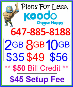Koodo 10GB $56 LTE data plan UNLIMITED talk text + $50 bonus