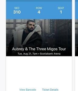 Drake tickets for sale Tuesday August 21 2018 show