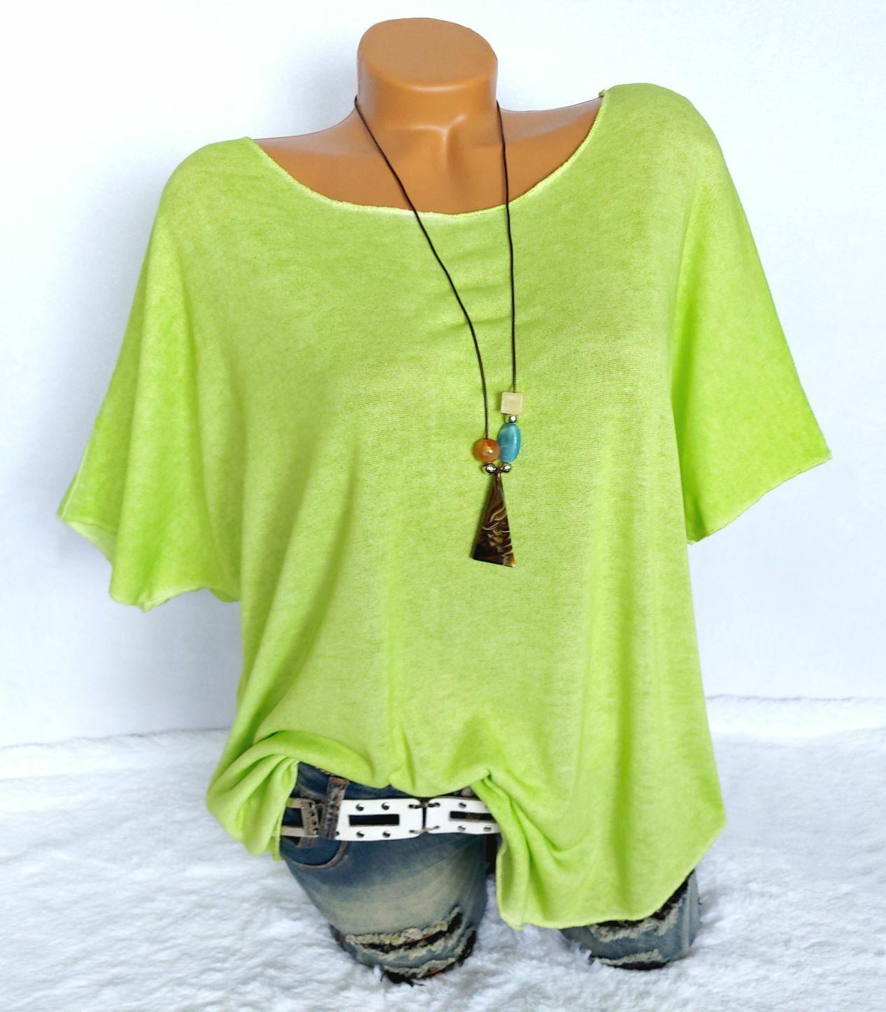 Damen Shirt mit Kette Oversize Italy T-Shirt Bluse Tunika Grüngelb 40 42 44