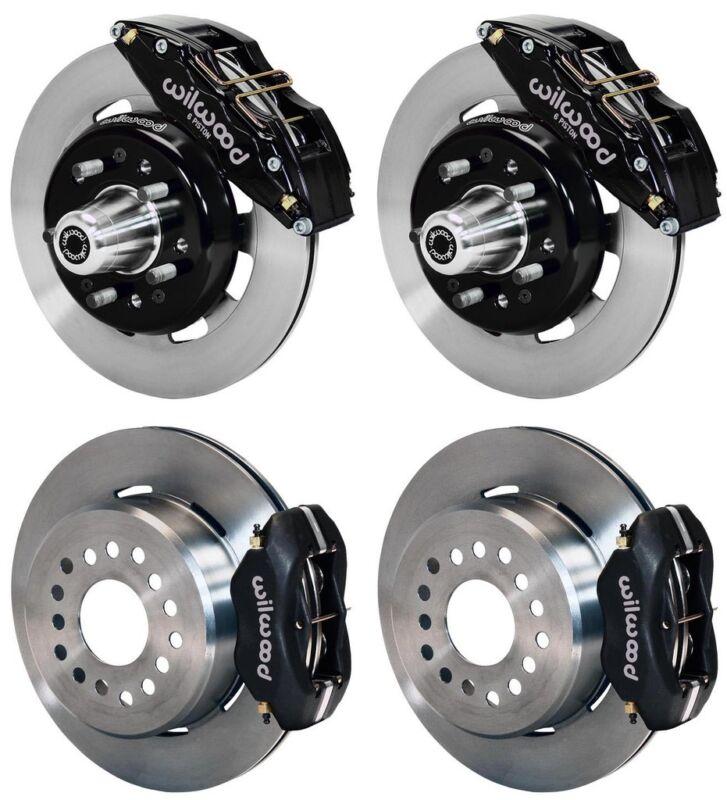 "Wilwood Disc Brake Kit,55-57 Chevy,12"" Rotors,6/4 Piston Black Calipers"