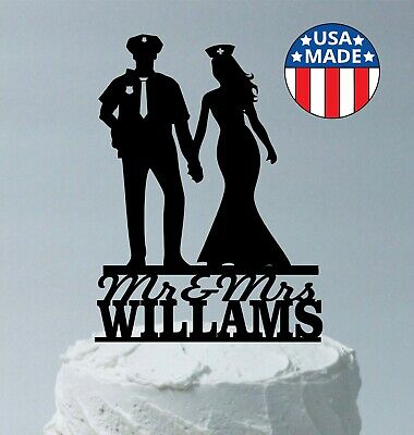 Policeman and Nurse Personalized Wedding Cake Topper Police Officer Bride Groom](Police Cake Topper)