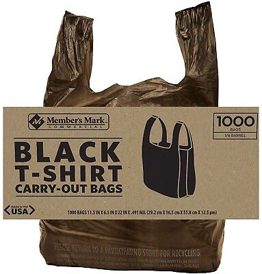 1000 Ct. Black Commercial T-shirt Carryout Bags Retail Grocery Stores Bags