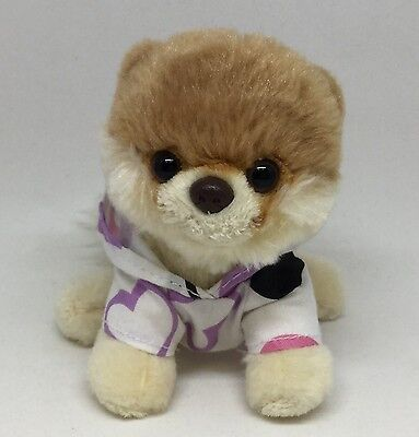 Gund 5  Plush Itty Bitty Boo Worlds Cutest Dog Hoodie With Hearts Stuffed Dog