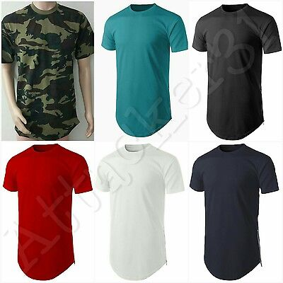 NEW Men's Basic Hip Hop Style Long T-Shirt with Side Zipper S: 4XL 100% COTTON