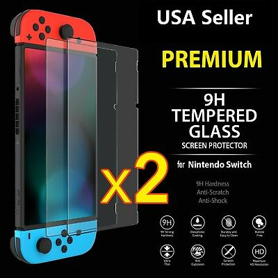 2 Pack HD Premium Tempered Glass Screen Protector Film for Nintendo Switch USA