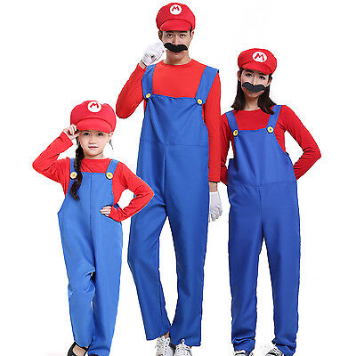 Cute Mario Family Halloween Costume Anime Game Role Play Dress Animation Cosplay