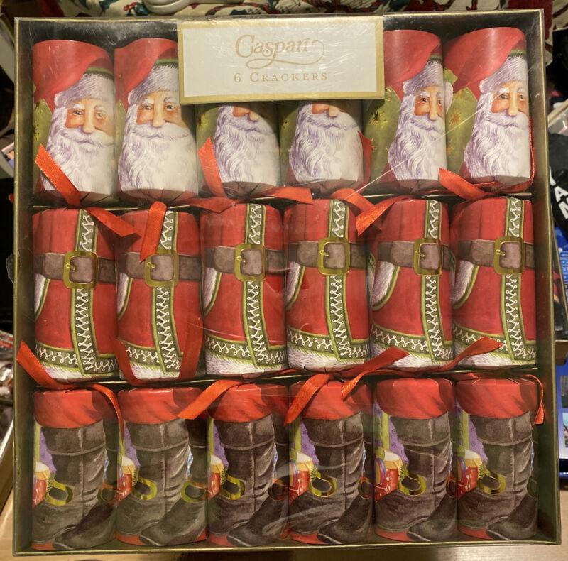 Caspari Celebration Christmas Crackers Santa Claus Lane New Sealed Pack Of 6 Nos