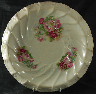 Gorgeous Vintage Plate with Pink Rose Decoration - No Maker's Mark