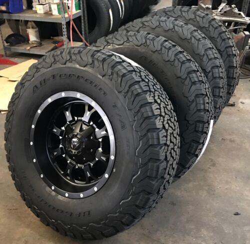 """(5) 17"""" Fuel Krank Black Wheels Jeep Wrangler Jk Tj 35"""" Bfg At Ko2 Tires Package"""