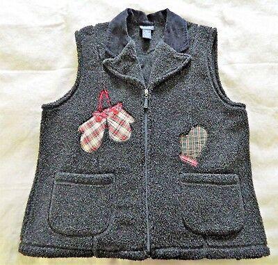 Rafaella Womens Size L Embellished Fleece Zipper Vest Mittens Gray Winter Season